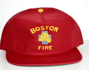 Vintage Boston Fire Snap Back Cap Hat RED Union Made in USA