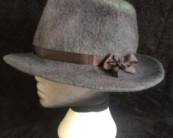 Hand dyed merino wool wet felted fedora