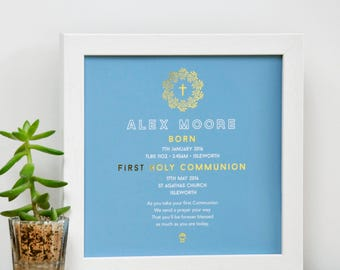 Personalized Framed Holy Communion Print with Gold, gift for holy communion, nursery decor, gift for child, personalised first communion