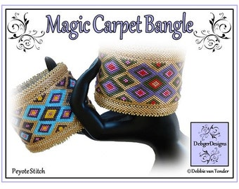 Beading Peyote Pattern, Tutorial, Bangle - MAGIC CARPET