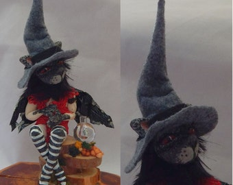 Anthropomorphic Black Cat Witch OOAK Fairy Fairies Art Doll Fantasy Halloween Polymer Clay