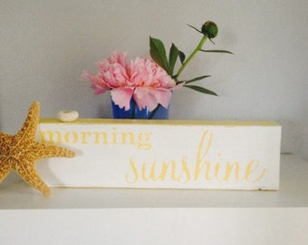 Morning Sunshine Wall Sign Wall Decor Summer Decor Beachy Cottage Wall Hanging Reclaimed Wood Upcycled (Item Number BL67)