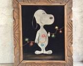 1960's framed black velvet painting Snoopy Christmas lights, Mexican kitschy velvet art wood frame, vintage black velvet Peanuts Christmas