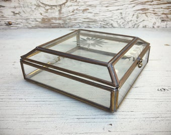Vintage clear glass box display case with brass, etched glass jewelry box, trinket box, best friend gift, bohemian bedroom decor,