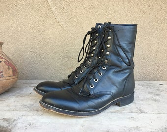 Vintage Men's size 8.5 D (Women's 9.5) black leather Packer cowboy boot, lace-up cowboy boot, granny boot, cowgirl boot, steampunk boot