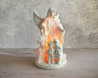 Vintage Guardian Angel with children night light, porcelain angel guarding children electric light, Christian decor, nursery decor, new baby