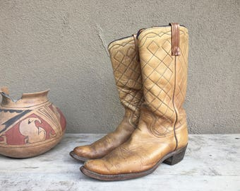 Old light brown leather cowgirl boots Women's size 7.5 to 8, authentic benchmade cowboy boot, quilted leather boot, tan boot, vintage boot
