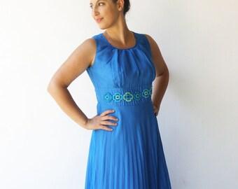 Vintage Blue Evening Gown / 1970s Maxi Dress / Size L