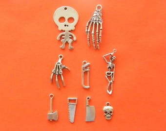 The Body Parts Collection - 9 different antique silver tone charms