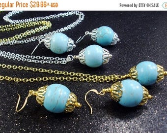 On Sale Handmade Wire wrapped Turquoise gemstone chain necklace