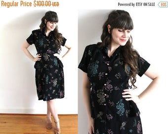 ON SALE 1940s Dress / 40s Black Rayon Pixelated Floral Print Peplum Dress