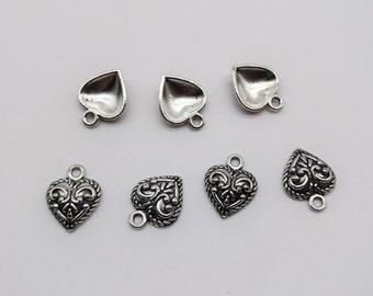 10 pcs Heart Pendant Tray - Antique Silver Pendant, 12mm, Heart Pendant base, Heart Tray, Heart Frame, Frame Pendant, Valentine's gift