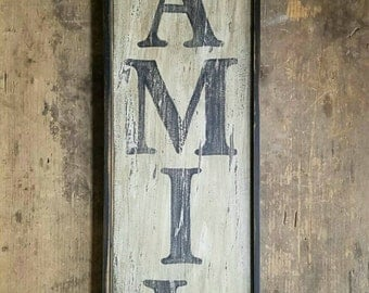 Early looking Vertical Antique Primitive FAMILY Wooden Sign