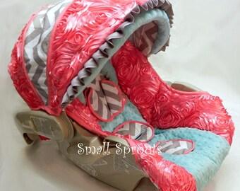 Coral Roses/Grey Chevron/Aqua Minky Dot Infant car seat cover 5 piece set