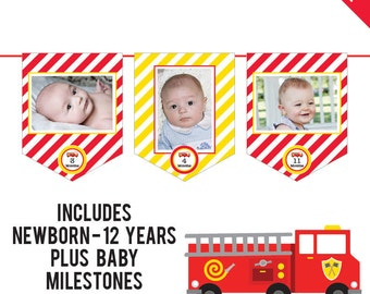 INSTANT DOWNLOAD Fire Truck Party - DIY printable photo banner kit - Includes Newborn through 12 Years, Plus Baby Milestones