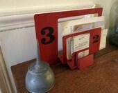 Modern Industrial Metal Letter Rack . Powder Coated Red Enamel . Desktop File . Upcycled . File Holder