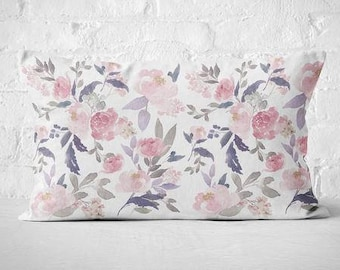 Floral Pillow Cover Lumbar Pillow Cover Navy floral