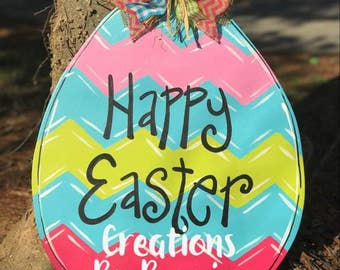 Chevron Easter Egg Door Hanger