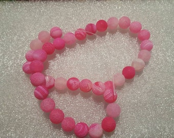 1 strand pink Dragon Vein 10mm Beads-Approx 35 beads