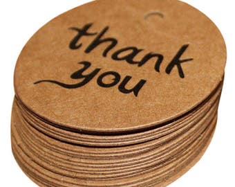 25 - Kraft Round Thank You Tags Gifts Presents Christmas Weddings Showers Birthday