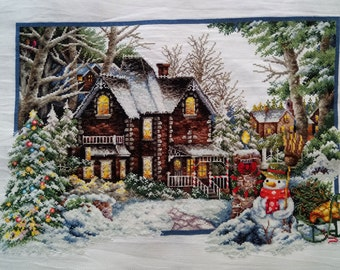 New Finished Completed Cross Stitch - Winter landscape - L104