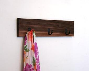 Handmade Walnut Scarf Rack. Mini Modern Coat Hanger. Organizer. 3 Hooks. Rustic. Summer. Beach house. Gift Idea.