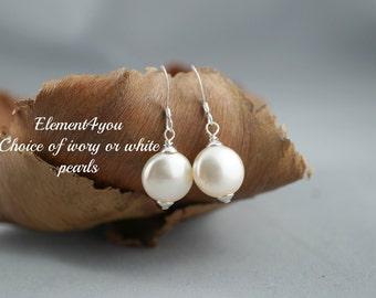 Bridesmaid earrings, Swarovski coin crystal pearl earrings, Ivory earrings, white pearl earrings, Bridesmaid gift, bridal earrings, Sterling