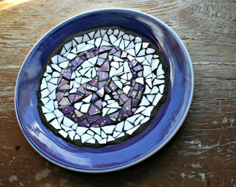 Mosaic Peace Sign Plate, Trivet, Candle Holder, Mosaic Plate, Peace Symbol, Peace Sign, Mosaic Dish, Shard Art, Anniversary, Retirement Gift