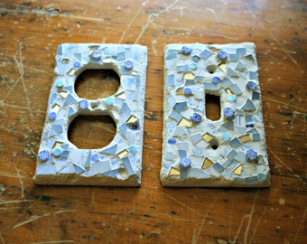 Mosaic Switch Plate and Outlet Cover Set, Stained Glass, Pique Assiette, For The Home, Small Art, Housewarming, Bathroom, Guest Room, Gift