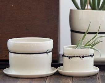 Medium Porcelain Planters with Black Linen