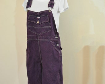 Purple Medium Bib OVERALL Capri Pants - Red Violet Dyed Upcycled Walls Denim Overall - Adult Womens Size Small (34 w x 20 L)
