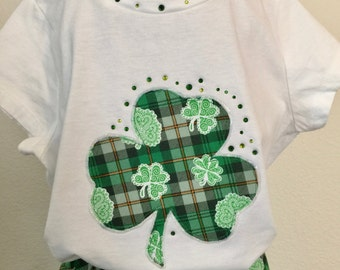 St. Patrick's Day Celtic plaid girls twirly skirt & shirt set with your choice of shirt, perfect for Disney, birthday parties, and photos