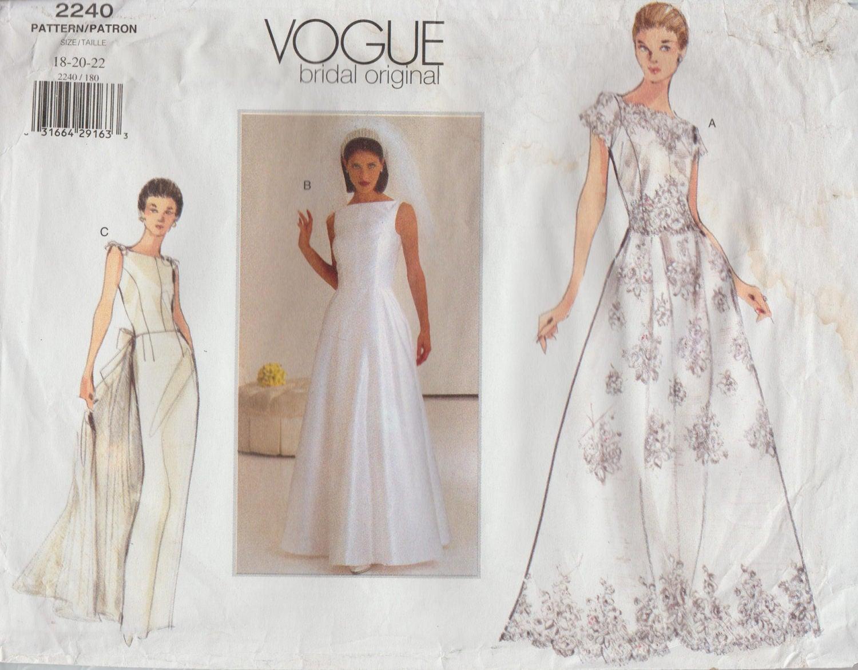 Vogue Bridal Original Sewing Pattern 2240 / Wedding Dress
