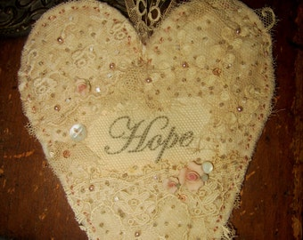 Vintage Lace Cotton Batting Embellished Heart Ornament  Hope