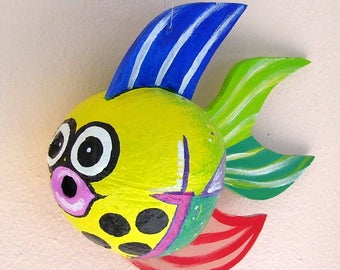 Coconut Fish Tropical Fish Hand Painted and Hand Crafted Yellow Palm Seed Pod Frond