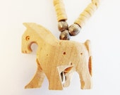 ON SALE Cute Vintage Carved Wood Horse Necklace