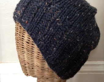 Dark Blue/Purprle Broad Ribbed Brim Slouchy Tweed Wool Beanie Hat