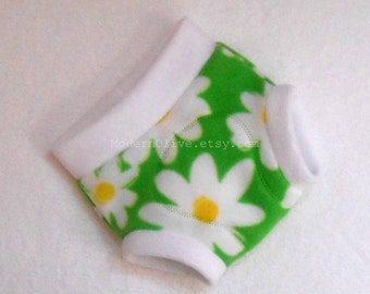 Medium Fleece Fitted Diaper Soaker/Fitted Cloth Diaper Cover/Overnight, Daisy Green White, Ready to Ship Vegan Baby Toddler Easter Spring