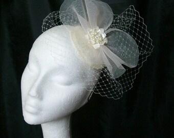 Ivory Bridal Blusher Veil Crinoline & Rhinestone Pearl Vintage Style Wedding Fascinator Mini Hat - Made To Order'
