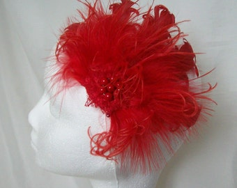 Scarlet Red Mixed Ostrich Curled Goose Fluff Feather Vintage Burlesque Style Hair Clip Fascinator Wedding Party Flapper -  Made to Order