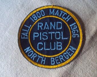 Vintage Fall 1800 Match 1966 Rand Pistol Club North Bergen, NJ Patch