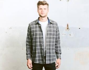 90s Grunge Nirvana Plaid Shirt . Men's Flannel Faded Work Shirt Button Up Grey Green Shirt Lumberjack Shirt Jacket  . size Large