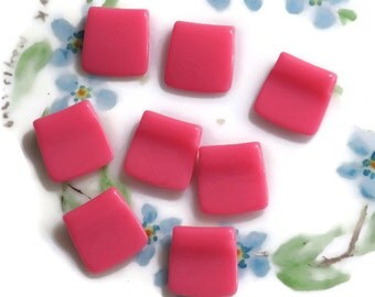 Shabby chic beads,Vintage Square Beads, Plastic Pink beads,kids beads,13mm beads,Rose Color beads,Opaque pink,NOS Unique Rare Top Hole #536