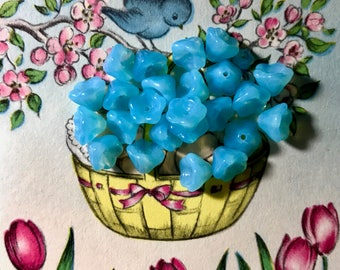 Vintage Tulip Flowers Beads Sapphire Glass 6mm 9mm Flower Blue Small NOS,Shabby chic glass flower beads,Aqua #1020