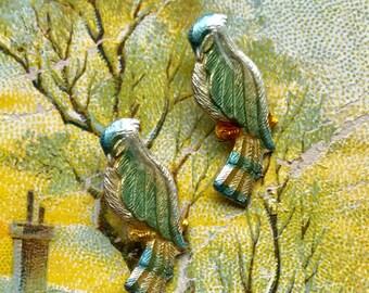 Enameled Bird charms, Bird Charms, Vintage Bird Charms,Enamel Birds,Bluebirds, Enamel Birds,Vintage Findings,bird Watching, #707B