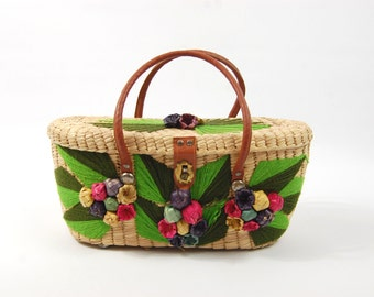 1950s - 1960s Pink and green Basket Purse - Colorful Tiki Handbag // woven Straw and Embroidered Yarn // Souvenir Tote