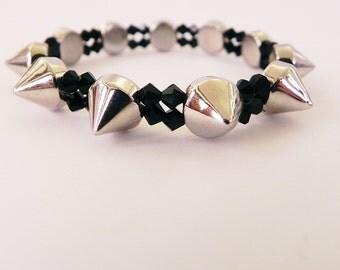 Spike Stretch Bracelet with Black Crystals Punk Rock Boho