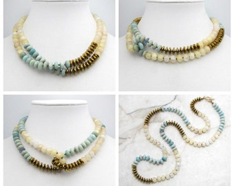 Long Boho Necklace. Double Wrap Necklace. Two Tone Necklace. Long Wrap Necklace. Raw Gem Necklace. Amazonite and Gold. TaraLynEvans. UMA