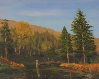Fly Fishing art, oil painting, trout fishing, mountain painting, sunset, 11x14