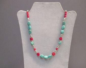 Turquoise Magnesite and Red Coral Beaded necklace